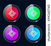 chip four color glass button ui ...