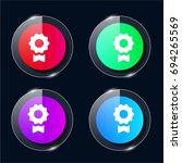 medal four color glass button...