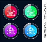 house four color glass button...