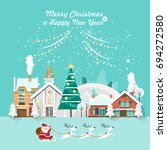 merry christmas and a happy new ... | Shutterstock .eps vector #694272580