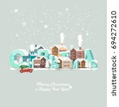 merry christmas and a happy new ... | Shutterstock .eps vector #694272610