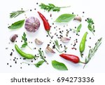 food background  herbs and... | Shutterstock . vector #694273336