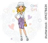 cute beautiful girl in a skirt... | Shutterstock .eps vector #694278634