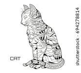 cat. zentangle. hand drawn cat... | Shutterstock .eps vector #694278814