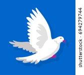 white bird flying | Shutterstock .eps vector #694279744