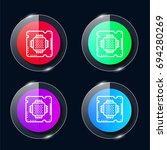 chip four color glass button ui ...