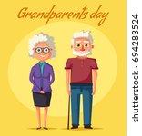 happy grandparents. vector... | Shutterstock .eps vector #694283524