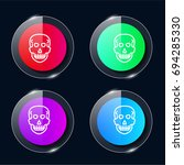 skull four color glass button...