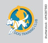 Stock vector dog training club logo template with a abstract dog jumping and a running human silhouette 694287583
