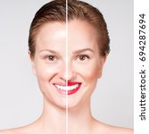 Small photo of Concept of skin rejuvenation. Woman before and after cosmetic or plastic procedure, anti-age therapy