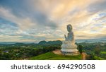 view of guanyin. on pagoda... | Shutterstock . vector #694290508