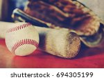 Baseball And Bat With Leather...