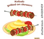 kebab with spices and onions.... | Shutterstock .eps vector #694309459