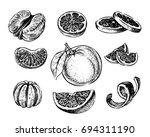 vector oranges and tangerine... | Shutterstock .eps vector #694311190