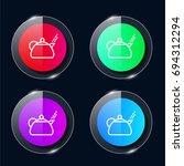 teapot four color glass button...