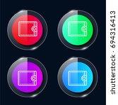 wallet four color glass button...