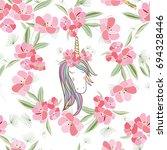 retro style botanical... | Shutterstock .eps vector #694328446