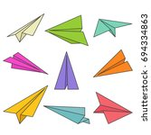 paper planes outlines in white... | Shutterstock .eps vector #694334863
