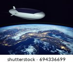 space tourism. a jet airship...   Shutterstock . vector #694336699