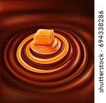 chocolate with caramel swirl... | Shutterstock .eps vector #694338286