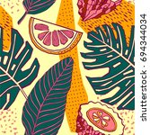 tropical fruits seamless pattern | Shutterstock .eps vector #694344034