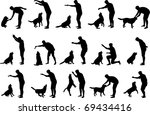 Stock vector boy with a dog silhouettes 69434416