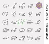 animals line icons set | Shutterstock .eps vector #694345240