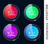tea cup four color glass button ...
