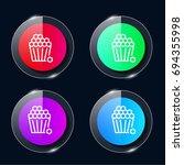 popcorn four color glass button ...