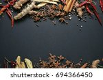 thai spices and herbs. spices... | Shutterstock . vector #694366450