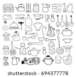 kitchen icon doodle set | Shutterstock .eps vector #694377778