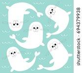 white sea lion. harp seal pup....   Shutterstock .eps vector #694379938