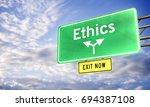 3d  road sign saying ethics | Shutterstock . vector #694387108
