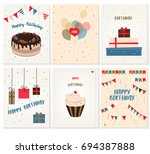 vector set of invitation cards... | Shutterstock .eps vector #694387888