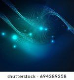 3d illuminated wave of glowing...   Shutterstock .eps vector #694389358