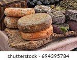 sheep milk cheese from sardinia ... | Shutterstock . vector #694395784