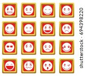 emoticon icons set in red color ... | Shutterstock .eps vector #694398220