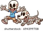 cartoon skeleton boy and... | Shutterstock .eps vector #694399708