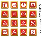 road sign set icons set in red... | Shutterstock .eps vector #694400479