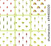 set of seamless pattern with... | Shutterstock .eps vector #694403320
