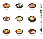 sushi menu icons set. cartoon... | Shutterstock .eps vector #694403563