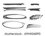 grunge scribble circle  ellipse ... | Shutterstock . vector #694406890