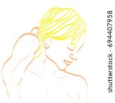 simple outline profile portrait ... | Shutterstock .eps vector #694407958