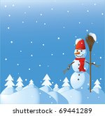 the snowman among winter... | Shutterstock . vector #69441289