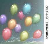 several colorful balloons...   Shutterstock .eps vector #69441427