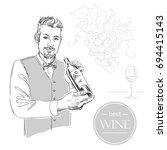 sommelier  waiter  man holding... | Shutterstock .eps vector #694415143