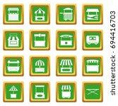 street food truck icons set in... | Shutterstock .eps vector #694416703