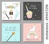 magic design cards set with... | Shutterstock .eps vector #694417258