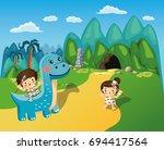 dinosaur stone age character... | Shutterstock .eps vector #694417564