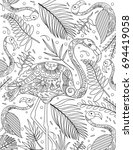 flamingo coloring book page   Shutterstock .eps vector #694419058